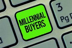 Σημείωση γραψίματος που παρουσιάζει χιλιετείς αγοραστές Τύπος επίδειξης επιχειρησιακών φωτογραφιών καταναλωτών που ενδιαφέρονται  απεικόνιση αποθεμάτων