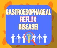 Σημείωση γραψίματος που παρουσιάζει Gastroesophageal Reflux ασθένεια Επιχειρησιακή φωτογραφία που επιδεικνύει τη χωνευτική ενίσχυ διανυσματική απεικόνιση