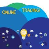 Σημείωση γραψίματος που παρουσιάζει on-line να κάνει εμπόριο Επιχειρησιακή φωτογραφία που επιδεικνύει την αγορά και που πωλεί οικ απεικόνιση αποθεμάτων