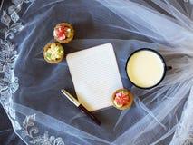 Σημείωση εγγράφου και φλυτζάνι του γάλακτος στοκ εικόνα με δικαίωμα ελεύθερης χρήσης