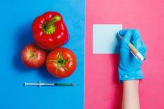 Σημείωση επιστημόνων, πράσινο υγρό στη σύριγγα, κόκκινη ντομάτα, Apple, πιπέρι Γενετικά τροποποιημένη έννοια τροφίμων στο ροζ και Στοκ φωτογραφίες με δικαίωμα ελεύθερης χρήσης