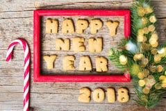 Σημείωση καλής χρονιάς σε ένα ξύλινο πλαίσιο Στοκ Εικόνες