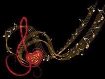 σημείωση μουσικής αγάπης Στοκ Εικόνες
