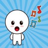 σημείωση μουσικής κινούμενων σχεδίων χαρακτήρα kawaii ελεύθερη απεικόνιση δικαιώματος