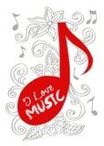 Σημείωση μουσικής με floral Στοκ φωτογραφία με δικαίωμα ελεύθερης χρήσης