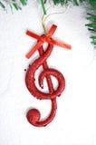 Σημείωση μουσικής, σκηνή Χριστουγέννων, διακόσμηση Στοκ Εικόνες