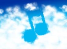 σημείωση μουσικής σύννεφ&o Στοκ Φωτογραφία
