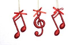 Σημείωση μουσικής Χριστουγέννων, σκηνή Χριστουγέννων, διακόσμηση Στοκ Εικόνες