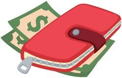 Σημείωση δολαρίων με το πορτοφόλι διανυσματική απεικόνιση