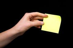 σημείωση χεριών κολλώδης Στοκ φωτογραφία με δικαίωμα ελεύθερης χρήσης