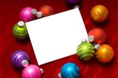 σημείωση Χριστουγέννων καρτών σφαιρών στοκ φωτογραφίες με δικαίωμα ελεύθερης χρήσης