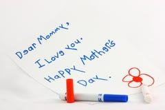σημείωση s μητέρων ημέρας Στοκ Εικόνες
