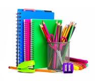 Σημειωματάρια και σχολικές προμήθειες Στοκ Εικόνες