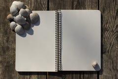Σημειωματάριο, κοχύλια και παλαιό ξύλο Στοκ Φωτογραφία