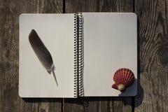 Σημειωματάριο, κοχύλια, φτερό και παλαιό ξύλο Στοκ φωτογραφίες με δικαίωμα ελεύθερης χρήσης