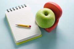 σημειωματάριο μήλων Στοκ Φωτογραφίες