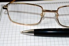 Σημειωματάριο μανδρών γυαλιών Στοκ Φωτογραφίες