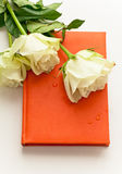 Σημειωματάριο με τα άσπρα τριαντάφυλλα ως δώρο Στοκ φωτογραφίες με δικαίωμα ελεύθερης χρήσης