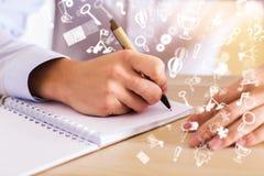Σημειωματάριο με τα αφηρημένα εικονίδια επικοινωνίας Στοκ εικόνα με δικαίωμα ελεύθερης χρήσης