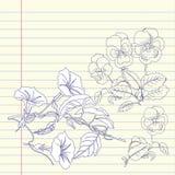 Σημειωματάριο με τα pansies και bindweed Στοκ εικόνα με δικαίωμα ελεύθερης χρήσης