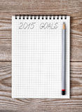 Σημειωματάριο με το μολύβι και τους στόχους του έτους 2015 Στοκ εικόνα με δικαίωμα ελεύθερης χρήσης