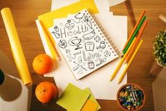 Σημειωματάριο με το σκίτσο υγείας Στοκ εικόνα με δικαίωμα ελεύθερης χρήσης