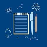 Σημειωματάριο με το στυλό και ένα μολύβι Στοκ Εικόνες