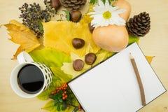 Σημειωματάριο με το φλιτζάνι του καφέ και μια ανθοδέσμη των φύλλων, των μούρων και των σπόρων φθινοπώρου Στοκ Εικόνες