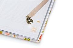 Σημειωματάριο που ανοίγουν στο νέο έτος Στοκ Φωτογραφία