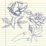 Σημειωματάριο που τίθεται με τα peonies Στοκ εικόνα με δικαίωμα ελεύθερης χρήσης