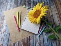 σημειωματάριο, στυλοί, μολύβια και ηλίανθοι στον πίνακα στοκ εικόνες