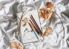 Σημειωματάριο σχεδίων, χρωματισμένα μολύβια, ξηρά φύλλα της βαλανιδιάς, ακουστικά στο κρεβάτι, τοπ άποψη Άνετη έννοια ελεύθερου χ Στοκ εικόνα με δικαίωμα ελεύθερης χρήσης