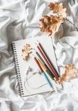Σημειωματάριο σχεδίων, χρωματισμένα μολύβια, ξηρά φύλλα της βαλανιδιάς, ακουστικά στο κρεβάτι, τοπ άποψη Άνετη έννοια ελεύθερου χ Στοκ Εικόνες