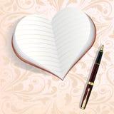 Σημειωματάριο υπό μορφή καρδιάς Στοκ Εικόνες