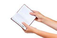 σημειωματάριο χεριών ανο&io Στοκ Εικόνες