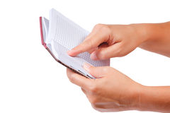 σημειωματάριο χεριών ανο&io Στοκ εικόνα με δικαίωμα ελεύθερης χρήσης