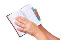 σημειωματάριο χεριών ανο&io Στοκ φωτογραφίες με δικαίωμα ελεύθερης χρήσης