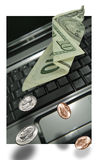 σημειωματάριο χρημάτων lap-top Στοκ Εικόνες