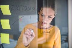 Σημειώσεις γραψίματος επιχειρησιακών γυναικών για τον πίνακα γυαλιού Στοκ εικόνα με δικαίωμα ελεύθερης χρήσης