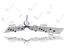 Σημειώσεις και τριπλό clef Στοκ φωτογραφία με δικαίωμα ελεύθερης χρήσης