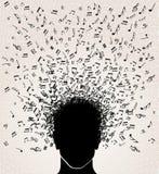 Σημειώσεις μουσικής έξω από το επικεφαλής σχέδιο Στοκ Εικόνες