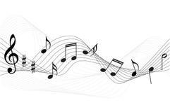 σημειώσεις μουσικής ανασκόπησης Στοκ φωτογραφία με δικαίωμα ελεύθερης χρήσης