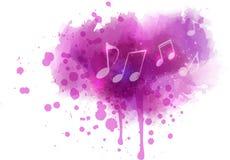 Σημειώσεις μουσικής για το λεκέ watercolor ελεύθερη απεικόνιση δικαιώματος