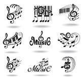 σημειώσεις μουσικής εικονιδίων στοιχείων σχεδίου που τίθενται Στοκ φωτογραφία με δικαίωμα ελεύθερης χρήσης