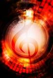 Σημειώσεις μουσικής και clef στο διάστημα με τα αστέρια αφηρημένο χρώμα ανασκόπησης ηλεκτρική μουσική απεικόνισης κιθάρων έννοιας Στοκ Εικόνες