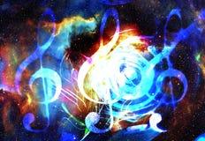 Σημειώσεις μουσικής και clef στο διάστημα με τα αστέρια αφηρημένο χρώμα ανασκόπησης ηλεκτρική μουσική απεικόνισης κιθάρων έννοιας Στοκ εικόνες με δικαίωμα ελεύθερης χρήσης