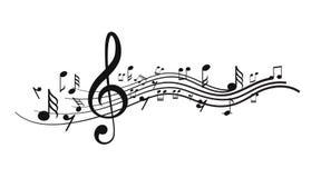 Σημειώσεις μουσικής με τα κύματα ελεύθερη απεικόνιση δικαιώματος