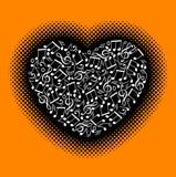 Σημειώσεις μουσικής με την καρδιά Στοκ Εικόνα