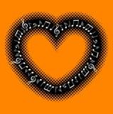 Σημειώσεις μουσικής με το πλαίσιο καρδιών Στοκ Φωτογραφία