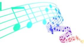 Σημειώσεις μουσικής που ρέουν στα χρώματα ουράνιων τόξων στο άσπρο υπόβαθρο Άνευ ραφής ζωτικότητα διανυσματική απεικόνιση